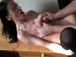 Crazy mature wife gets rough drilled by her new boss with monster cock