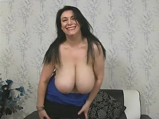 British Milf Shows Giant Boobs And Shaved Cunt