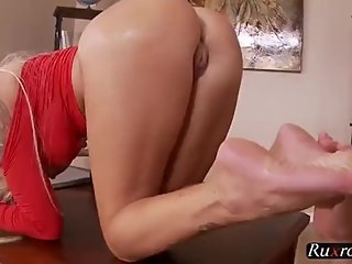 blonde milf feet french pedicure