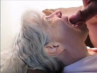 White hair grandma sucking cock and drink cum