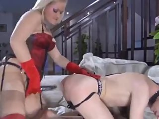 Hot russian femdom fucks her submissive boy