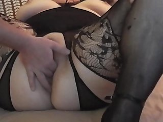 Wives Pussy Stretched in crotchless body stocking