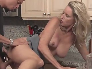 Taboo! Mature stepmom seduces and fucks her lucky stepson with big dick