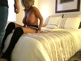 Busty wife cheating on husband with her new boss on business trip