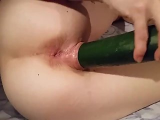 Tight Pussy fucksThick Huge 10 inch Cucumber Deep